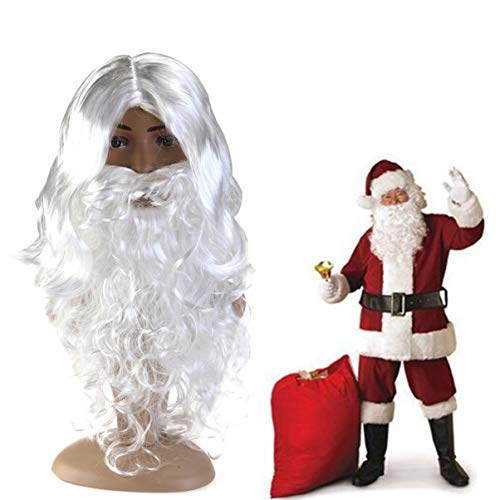 FAVOMOTO Santa Claus Wig with Beard Set,Deluxe White Funny Santa Fancy Dress on Christmas Party Favor, Adults Costume Santa Claus Christmas Costume Accessories