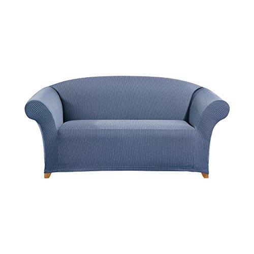 SureFit Simple Stretch Ticking Stripe 1-Piece - Loveseat Slipcover - Cadet Blue