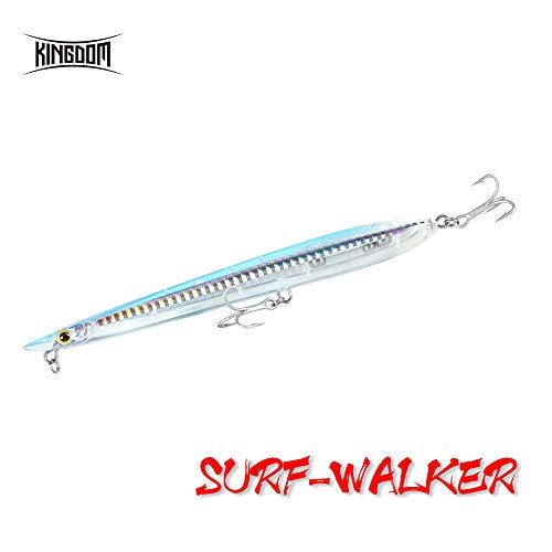 Kingdom Fishing Topwater Esca Artificiale Galleggiante per spigola, luccio, Esche rigide, 155 mm, 20 g, Z-Action, 21# White Snake, 155mm/6.1inch