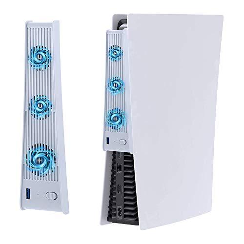 Mcbazel Cooling Ventiladores para PS5, Externo USB 3.0 Accesorio de Enfriador Compatible con PlayStation 5 Edición Digital / Consola Ultra HD - Blanco