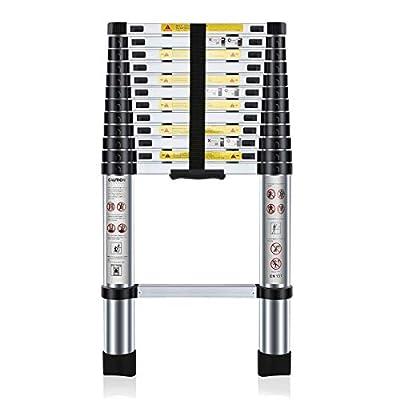 150 kg Escaleras de uso m/últiple Plegable 2,5 + 2,5 M AUFUN Escalera Telesc/ópica 5m Escalera de Aluminio Plegable Antideslizante Extensible multifunci/ón Carga m/áxima