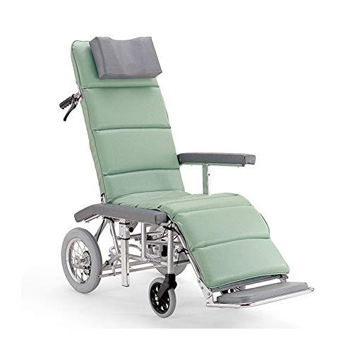 LXYSB Silla de Ruedas reclinable Completa con Respaldo Alto de aleación de...