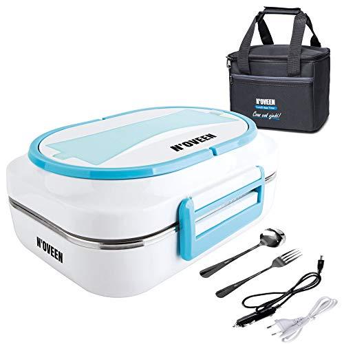 N'OVEEN Elektrische Lunchbox LB520 Speisenwärmer, Thermo Lunchbox Heizplatte mit 1 Liter Fassungsvermögen – 230V + 12V (Auto) - Food Box Warmhalteplatte bis 60°C Wärmedämmbeutel enthalten