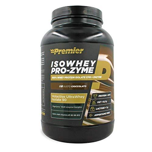 Premier Integratori Isowhey Pro-zyme | proteine del siero di latte isolate Volactive® Ultrawhey Isolate 90 | fonte proteica maggiore del 90% | Senza aspartame -(Cioccolato, 2 Kg)