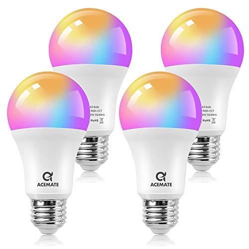 ACEMATE Bombilla inteligente LED WiFi Regulable Multicolor Lámpara(no se requiere hub),E26(E27),7W=75W,Luz Cálida/Fría & RGB, A60, compatible con Alexa,Siri,Echo,Google Home Control (4 PCS)