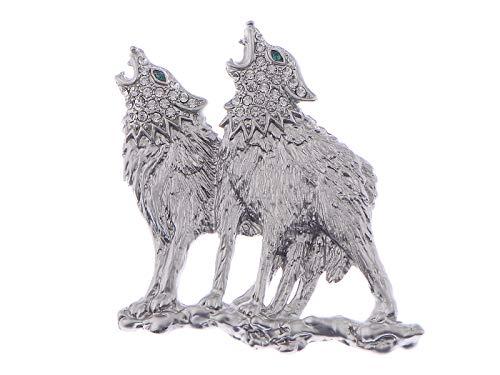 ALILANG Silvery Tone Klare Smaragdgrüne Augen Heulendes Paar Wölfe Tiere Revers Brosche Pin