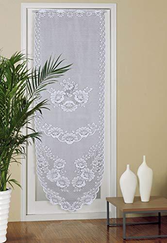 Panel de cortina de puerta, 60 x 180cm, con estampado de lino, diseño de panel de puerta francesa, cortinas vintage para puerta de cristal, color blanco