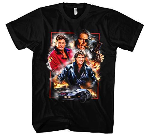 David Hasselhoff Männer und Herren T-Shirt | Vintage Baywatch Retro Kult (XXL, Schwarz Druck:Bunt)