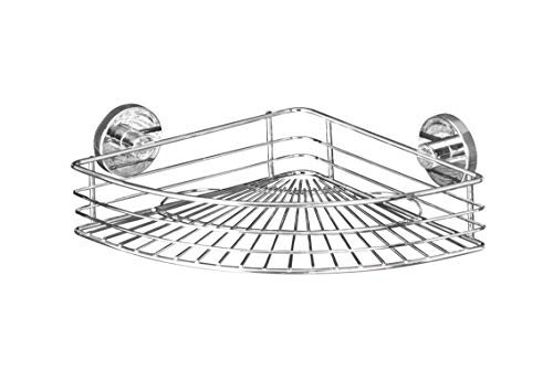 WENKO Vacuum-Loc® étagère d'angle Bari - fixer sans percer, Acier, 35 x 9 x 22.5 cm, Chromé