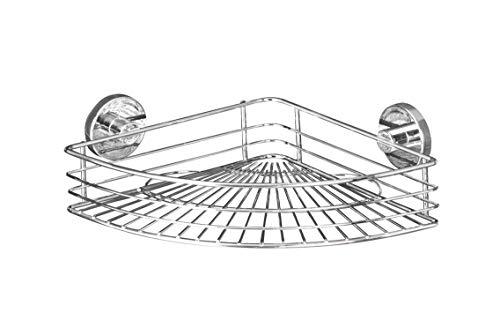 WENKO Vacuum-Loc Eckablage Bari, Wandregal ohne bohren, Duschablage mit Vakuum-Befestigung, Regal für Badezimmer und Küche, verchromtes Metall, 31,5 x 8,5 x 22 cm