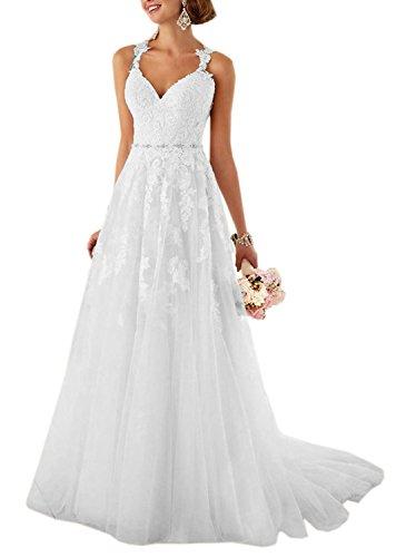 Aurora dresses Damen Elegant Hochzeitskleider Lang Spitze Brautkleider Schatzhals Brautjungfern kleider(Weiß,46)