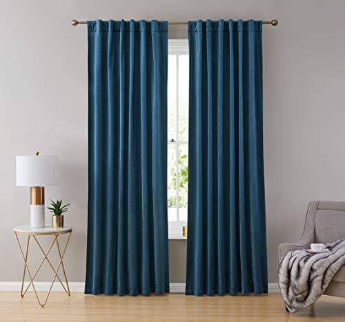 HLC.ME Lopez Velvet Premium Soft Light Filtering Back Tab Rod Pocket Window Treatment Curtain Drapery Panels for Bedroom & Living Room - Set of 2 Panels (54 x 96 inches Long, Teal Blue)