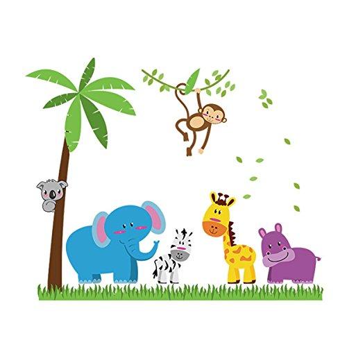 UNIQUEBELLA Wandaufkleber für Kinderzimmer Schlafzimmer Wohnzimmer Dekoration für Kinder Zeichnungen Tiere auf der Wiese