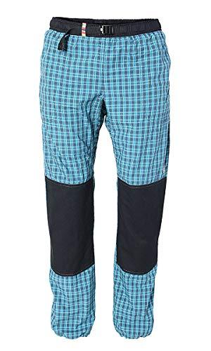 REJOICE Boulderhose Moth Kletterhose für Damen und Herren – Outdoorhose für bewegungsfreies Bouldern, Klettern, Trekking, Wandern (M, Türkis/Kariert)