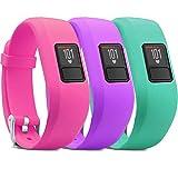 iBREK for Garmin Vivofit 3/jr/jr 2 Bands, Adjustable Replacement Wristbands with Watch Buckle for Kids Women Men(No Tracker)(3 Pack:Pink&Purple&Teal,Regular Fit(6.0-9.0 in))