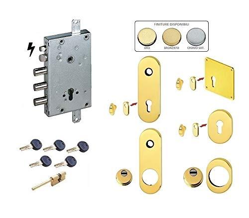 Kit de cerradura completa para puerta blindada de cilindro europeo Kaba Matrix para Cisa 3 pernos eléctricos (placa larga y defender normal)