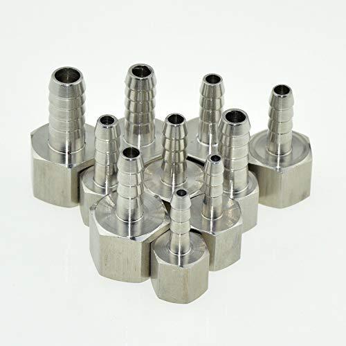 XIAOYUW 1pc 6 mm 10 mm 12 mm for Manguera de Cola 1/4' 1/2' Rosca BSP Pulgadas Conector Hembra común de la Pipa Montaje Adaptador de Acoplamiento SS 304 de Acero Inoxidable