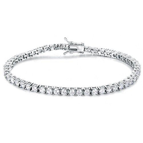 Bracelet Tennis pour homme Argent 925rhodié Or blanc avec zircons Taille brillante