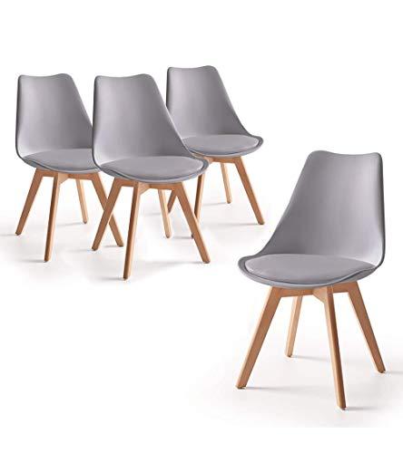 Home Heavenly® - Pack de 4 sillas Comedor, Envio Desde ESPAÑA, Silla diseño nórdico con Asiento Acolchado, TULIPA en Blanco o Gris (Gris)