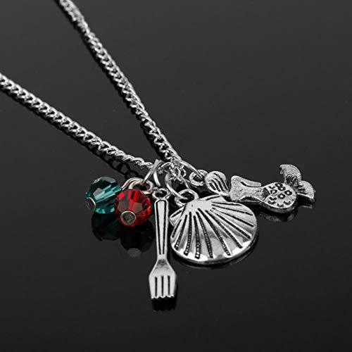 mswdm Kleine Meerjungfrau Charme Halskette Mode Cartoon Anime Schmuck Mit Meerjungfrau Shell Gabel Ariel Kristall Perlen Anhänger Halskette