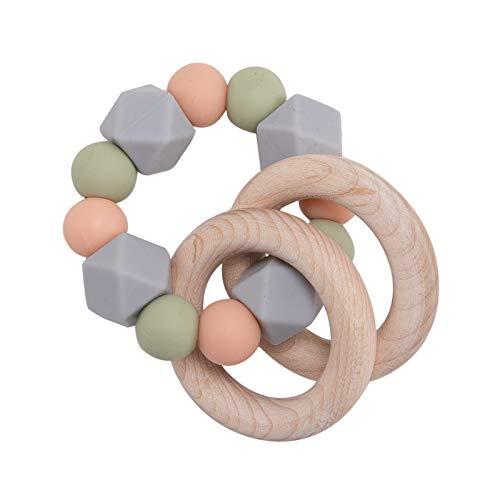 Promise Babe Beißring für Babys Silikonperlen Beißring Baby Zahnen Nursing Zubehör Armband Hölzern Ring Baby Greifling Spielzeug (Grau)