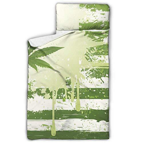 Marihuana Weed Mary Jane Drugs X - Alfombrilla para siesta con almohada y manta, diseño de manta y almohada, ideal para fiestas de pijamas preescolares de 127 x 50 cm