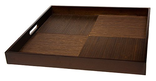 Simply Bamboo Brown Extra Large Square Ribbed Bamboo Serving Tray  Decorative Platters for Ottoman  Kitchen TableTop  Coffee Tray - 20 x 20 x 2