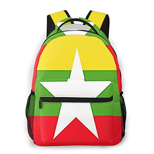 Laptop Rucksack Schulrucksack Burma Myanmar Flagge, 14 Zoll Reise Daypack Wasserdicht für Arbeit Business Schule Männer Frauen