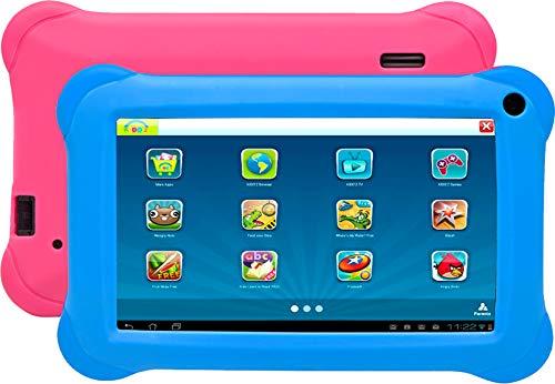 Denver TAQ-70352 BLUEPINK Tablet Quad Core 7 con KIDO z e Android 8.1GO. 8 GB di spazio di archiviazione e 1 GB di RAM, accesso completo a Google Playstore. Include 2 custodie: 1 rosa e 1 blu.