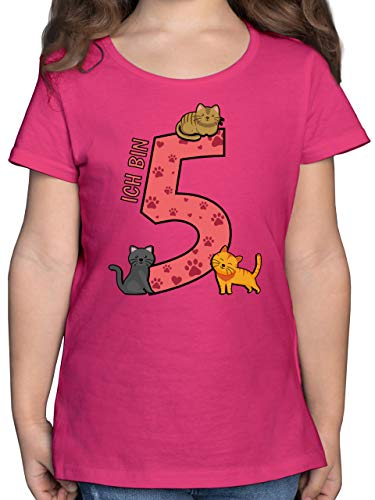 Geburtstag Kind - 5. Geburtstag Katzen - 116 (5/6 Jahre) - Fuchsia - Geburtstag - F131K - Mädchen Kinder T-Shirt