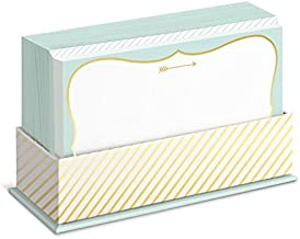 Graphique Mint and Gold Flat Note Card Stationery with Mint and Gold Border, 50 Note Cards and Matching Envelopes, 5.625