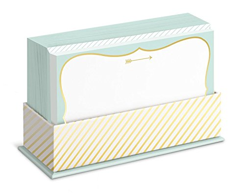 Graphique Mint and Gold Flat Note Card Stationery with Mint and Gold Border, 50 Note Cards and Matching Envelopes