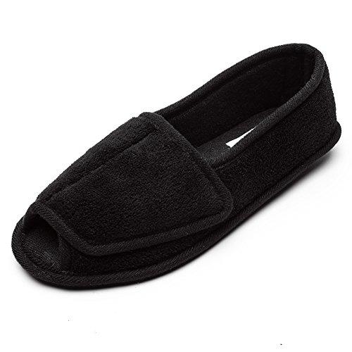Women Diabetic Slippers/W Arthritis Edema Adjustable Closure Memory Foam House Shoes Open Toe 9#,Black...