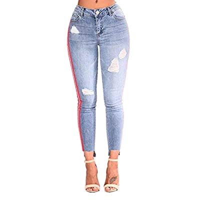 HOSDRed Side Stripe Jeans High Rise Curvy Jeans Woman Stretchy High Waist Jeans Light Blue from HOSD