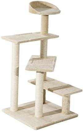 PawHut Árbol para Gato Rascador para Arañar con Cama Plataforma con Manta de Sisal 50x50x100cm Terciopelo Beige