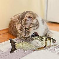 電動魚おもちゃ/揺れる魚猫のおもちゃ/面白いインタラクティブな子猫のおもちゃ/USB充電式/リアルなぬいぐるみシミュレーション電気揺れる魚の子供のおもちゃ洗える、噛む、噛む、猫を蹴るのに最適30cm