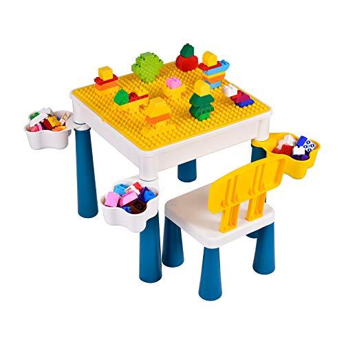 Sararoom 5 in 1 Set da Tavolo Multi attività,Tavolo e Sedia per Bambini,Tavolo da Gioco,con Sedia -Costruzioni da 130 Pezzi-4 scatole di immagazzinaggio, può Mettere Sabbia/Acqua