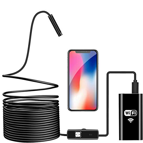 Endoscopio Inalámbrico, Cámara de Inspección WiFi Boroscopio 2.0 Megapíxeles 720P HD Impermeable Serpiente Cable Cámara con 8 LED Ajustable para Android iOS iPhone Mac Windows PC-5M