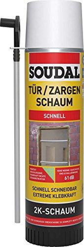 Soudal 2K ZARGENSCHAUM, zweikomponentiger, selbstexpandierender Polyurethan-Schnellschaum, Dose: 400ml