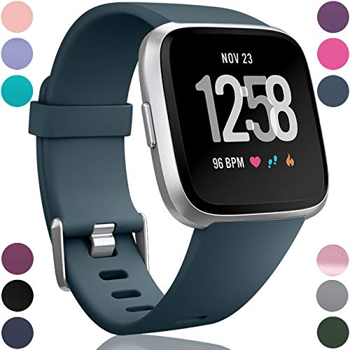 Wepro Replacement Bands Compatible with Fitbit Versa SmartWatch, Sports Watch Band for Women Men, Small, Slate Blue