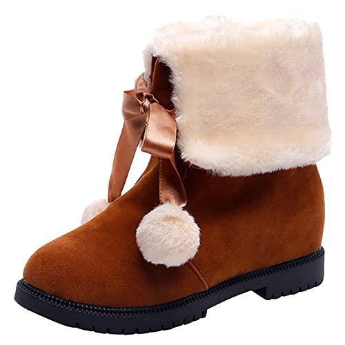 Winterstiefel Fellknäuel Bowknot Warme kurze Stiefel für Damen Mädchen Plüsch Gefüttert Schneestiefel Schlupfstiefel Schöne Stiefelette Winterschuhe Mode Weihnachtsschleife Damenstiefel reitstiefel