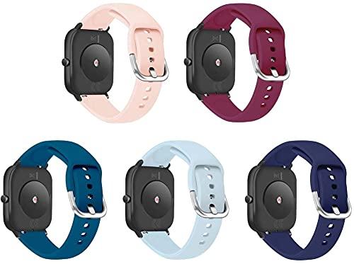 Correa de Reloj de Silicona Suave Compatible con Galaxy Watch Active/Active 2 / Active 3 / Watch 42mm, Repuesto Ideal (20mm, 5-Pack G)