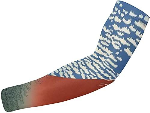 Fundas de brazo de refrigeración con protección UV, 1 par de mangas de compresión para ciclismo, correr, baloncesto, fútbol, cielo claro