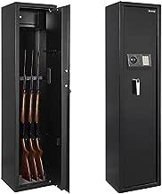 Kcelarec Electronic Gun Safe Cabinet, Large Rifle Safe Cabinet for Home Office, Quick Access 5-Gun Storage Cabinet with Handgun Lockbox Slient