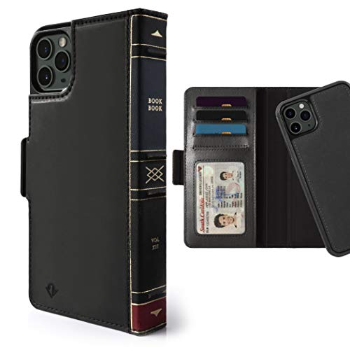 Twelve South BookBook for iPhone 11 Pro | 3-in-1 Leather Wallet Case with Display Stand and Removable Magnetic Shell (Black), 12-1927