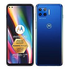 """Moto g 5G Plus Dual-SIM Smartphone (6,7""""-CinemaVision-FHD+-Display, 48-MP-Vierfach-Kamerasystem, 64 GB/4 GB, Android 10) Blau inkl. Schutzcover + TV Now Gutschein[Exklusiv bei Amazon]©Amazon"""