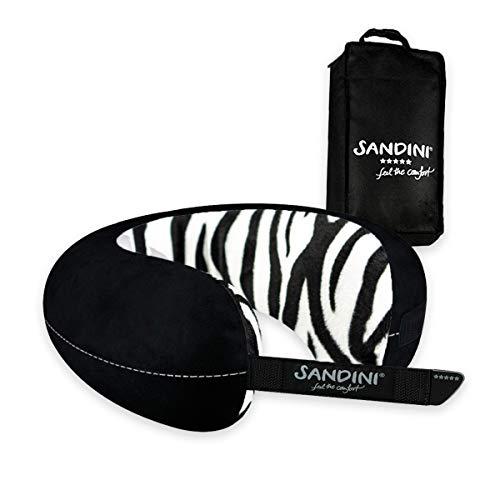 SANDINI TravelFix® Slim Size – Plüsch - Premium Reisekissen Made in EU/Nackenkissen mit ergonomischer Stützfunktion – Gratis Transporttasche mit Befestigungs-Clip
