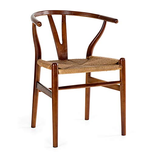Wooden Chair Wishbone Wood Armchair with Natural Fabric Seat for Kitchen, Living Room and Dining Room