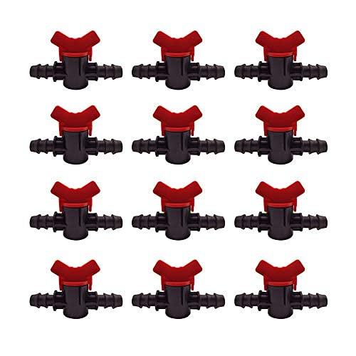 Válvula de interruptor de riego por goteo de 12 piezas para tubo de 16 mm, válvula de púas macho doble, conectores de manguera de plástico para
