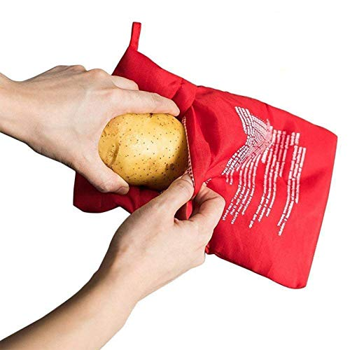 Serie di 4 Microonde Patata Fornello Borsa, JanTeel Lavabili Riutilizzabili Microonde Patate Pouch per cottura express, Patata Esprimere Busta perfetta Patate Solo in 4 Minuti (4pezzi, Rosso)